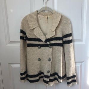 Free People    Wool Stripped Button-down Cardigan